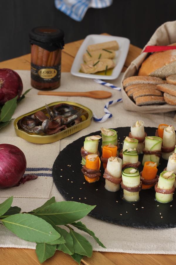 Rollitos de vegetales rellenos de Bonito del Norte y Anchoas del Cantábrico