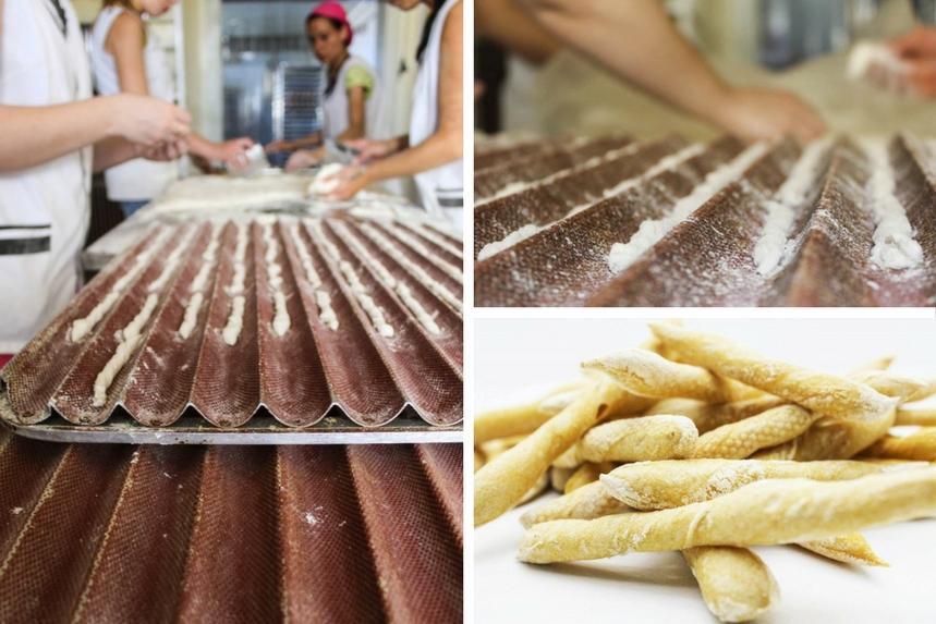 Momento de elaboración de las cañas de pan feo