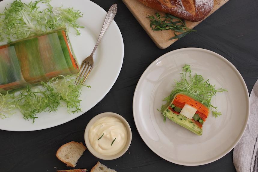 Terrina de merluza y vegetales asados