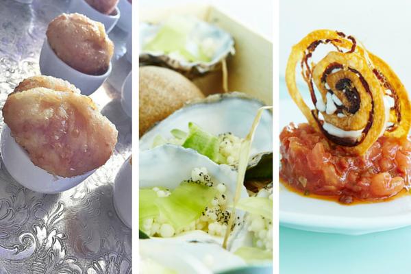 Huevo-Jamón-Pan; Pepino encurtido y aliño de ostras; y Tartar de tomate con calamar de Teruel