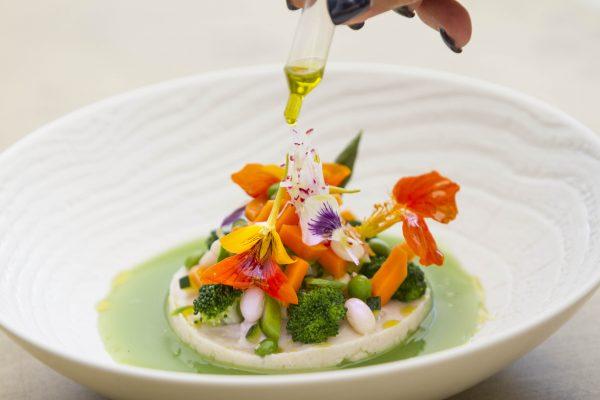 Jardín de verduras con puré de alubias blancas, licuado de judías verdes y aceite de Cornicabra