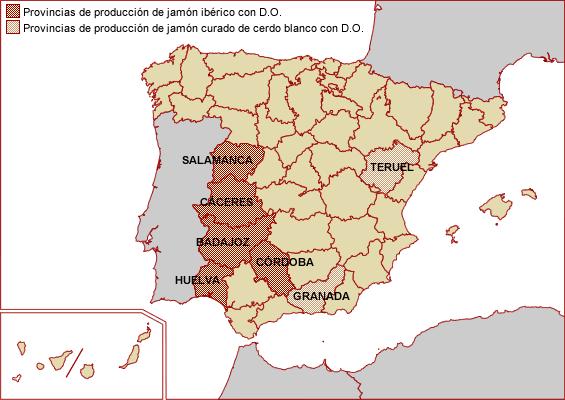 Mapa de producción de jamón ibérico y jamón curado de cerdo blanco con DO