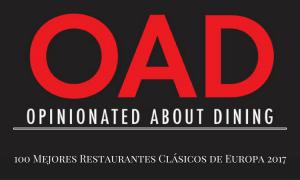 Lista de los 100 mejores restaurantes clásicos de Europa 2017 según Opinionated About Dining