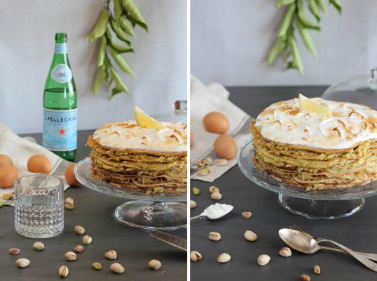 """Tarta """"mil crêpes"""" con crema de pistachos y merengue flambeado"""