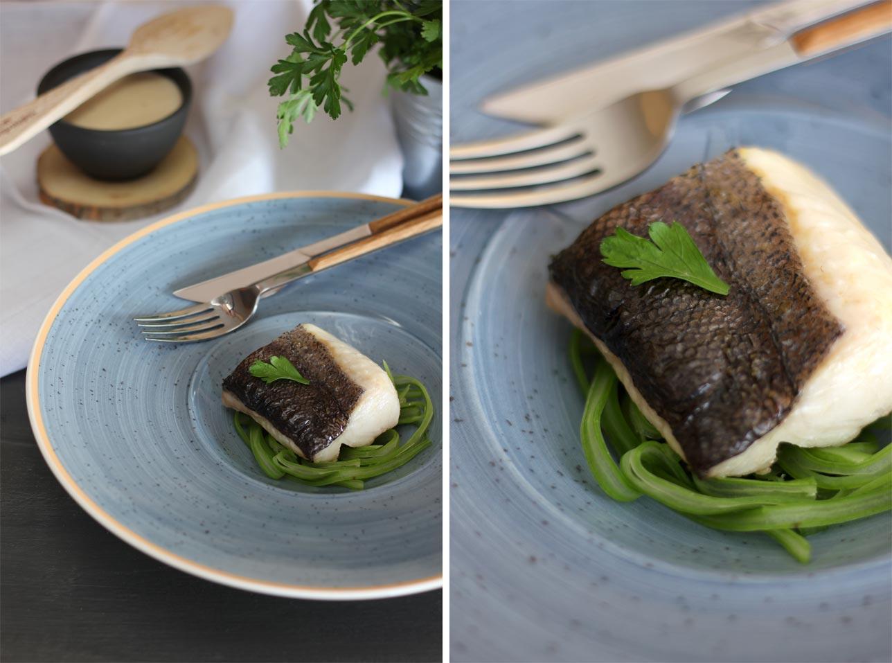 Merluza confitada con salsa ligera de anchoas