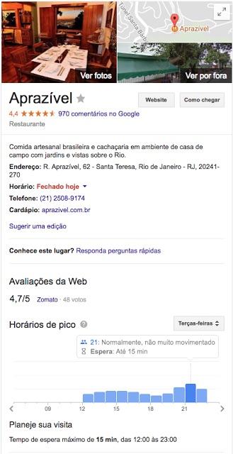 Restaurantes en google
