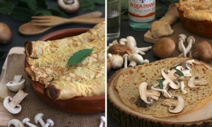 Crêpes stuffed with Boletus and Leeks