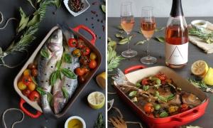 Lubina al horno con Vinagreta mediterránea