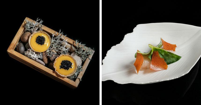 Yema en escabeche de Perdiz y Caviar, y Cigala con Hoja de Ostra. Foto: Manolo Monosalbas.