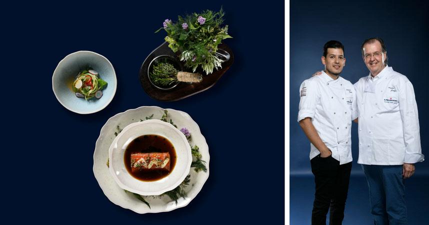 Wälti presentó un plato con salmón y vegetales