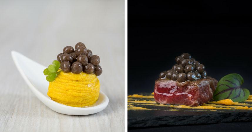 Las perlas de trufa negra aportan un sabor especial a platos fríos y calientes