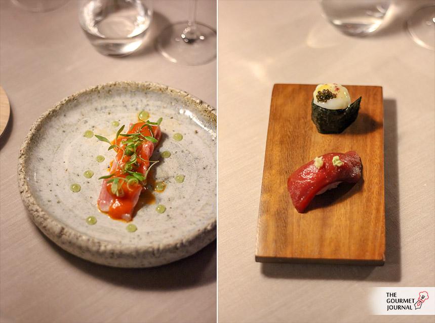 Usuzuki de atún y Gunkan de huevo de codorniz